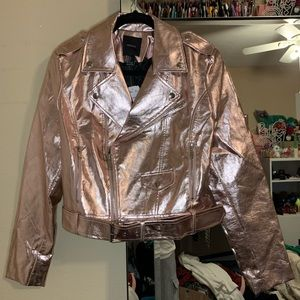 Forever 21 Rose Gold Faux Leather Moto Jacket